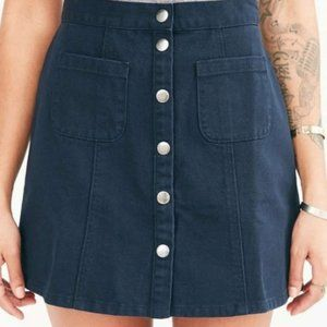 Urban Outfitters BDG Button Front Mini Skirt Navy